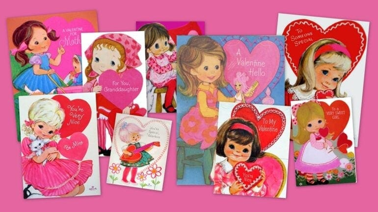 Retro pink girly Valentines from the 1970s