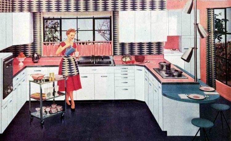 Retro pink kitchen - Vintage 50s home decor (1)