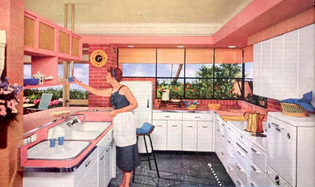 Retro pink kitchen - Vintage 50s home decor (4)
