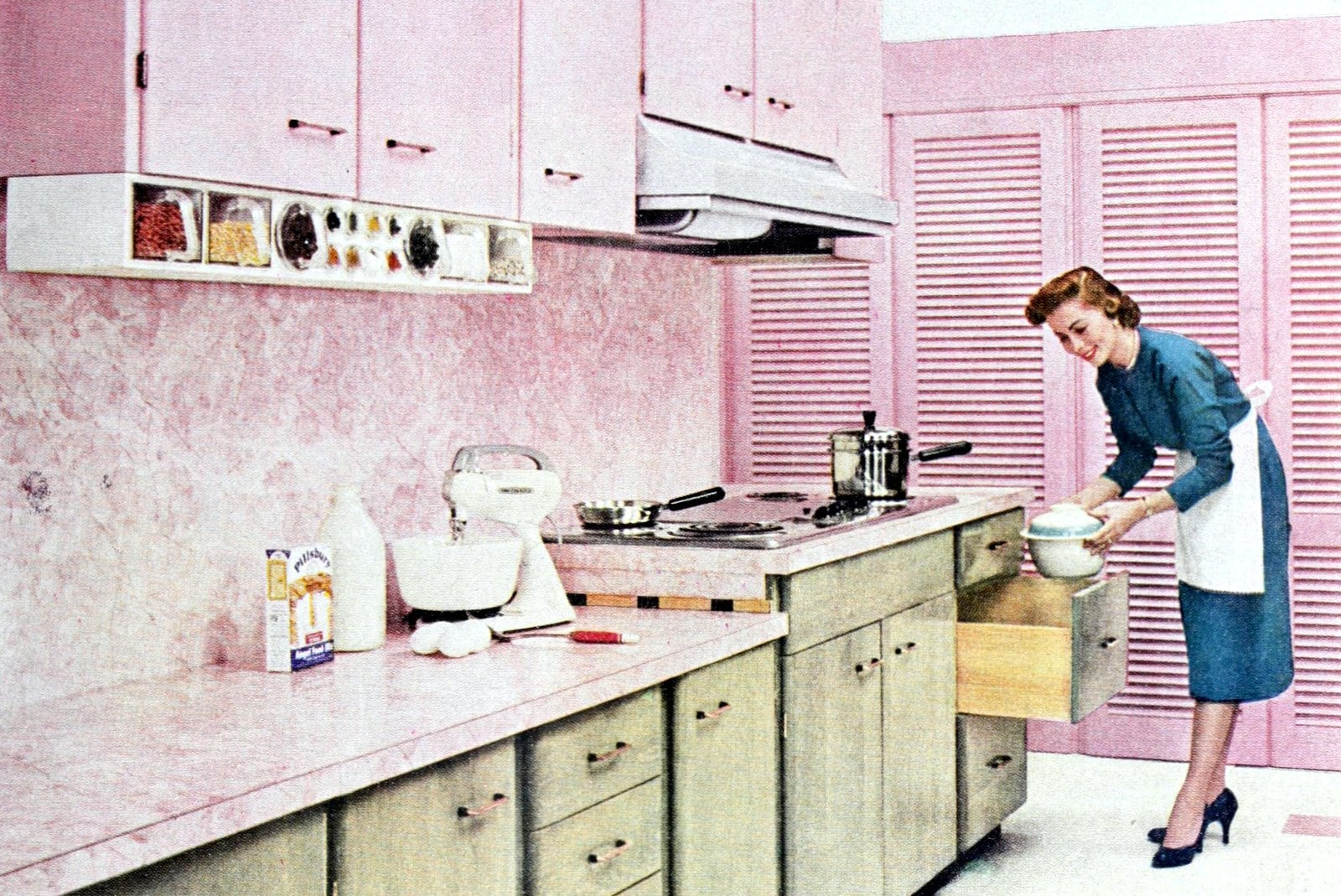 Retro pink kitchens 1950s home decor you don't see much today