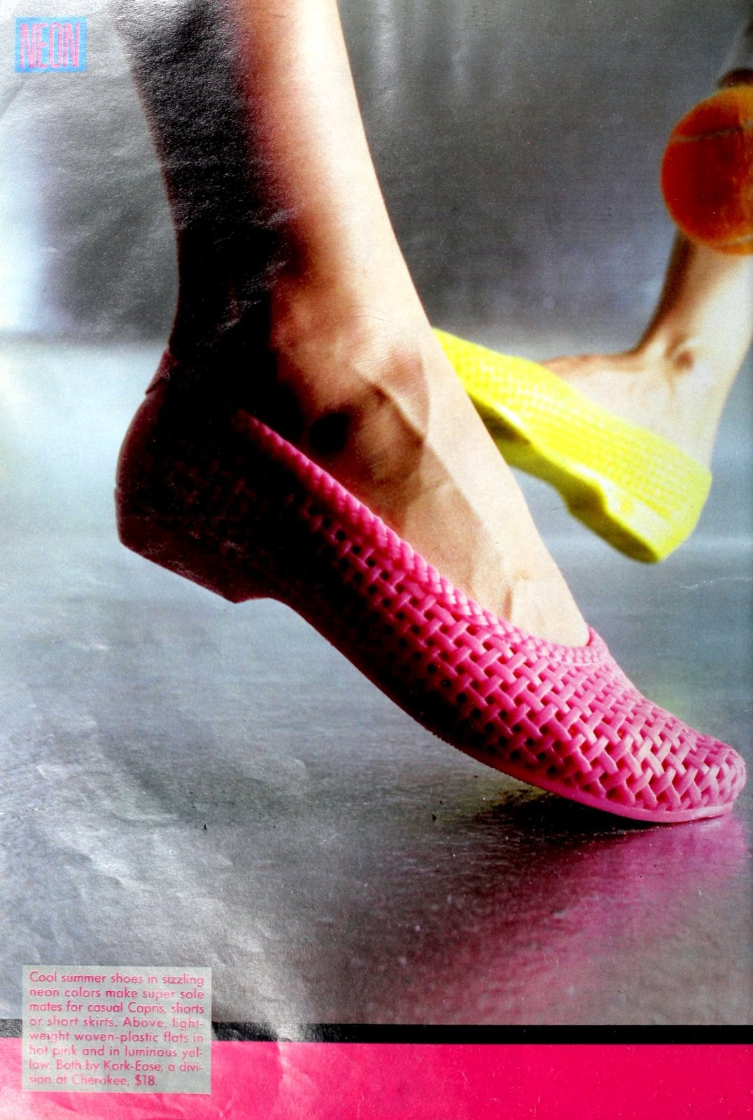 Retro pink plastic shoes from the eighties