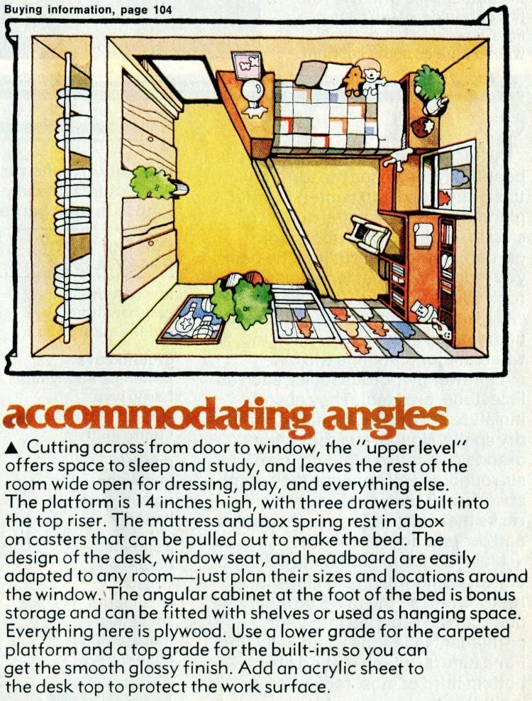 Retro plan view for bedroom with shag carpet platform (1976)