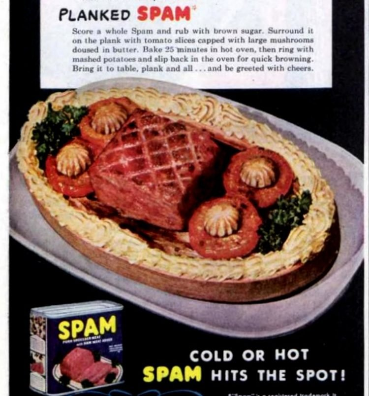 Retro planked Spam recipe from 1948