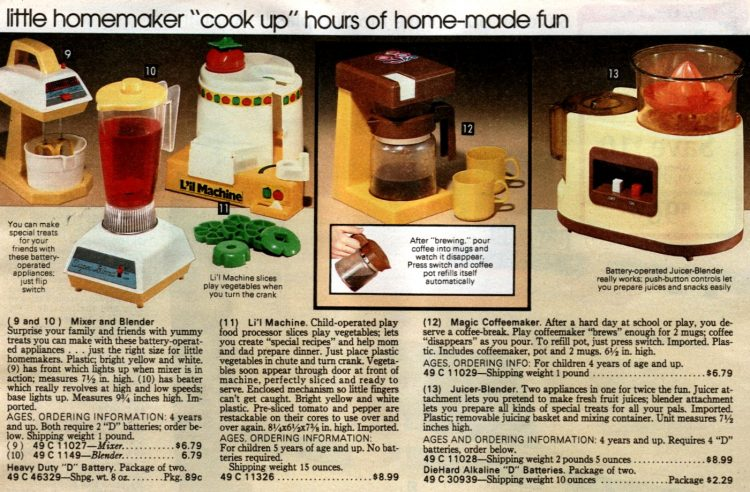 Retro play kitchen appliances from the 80s