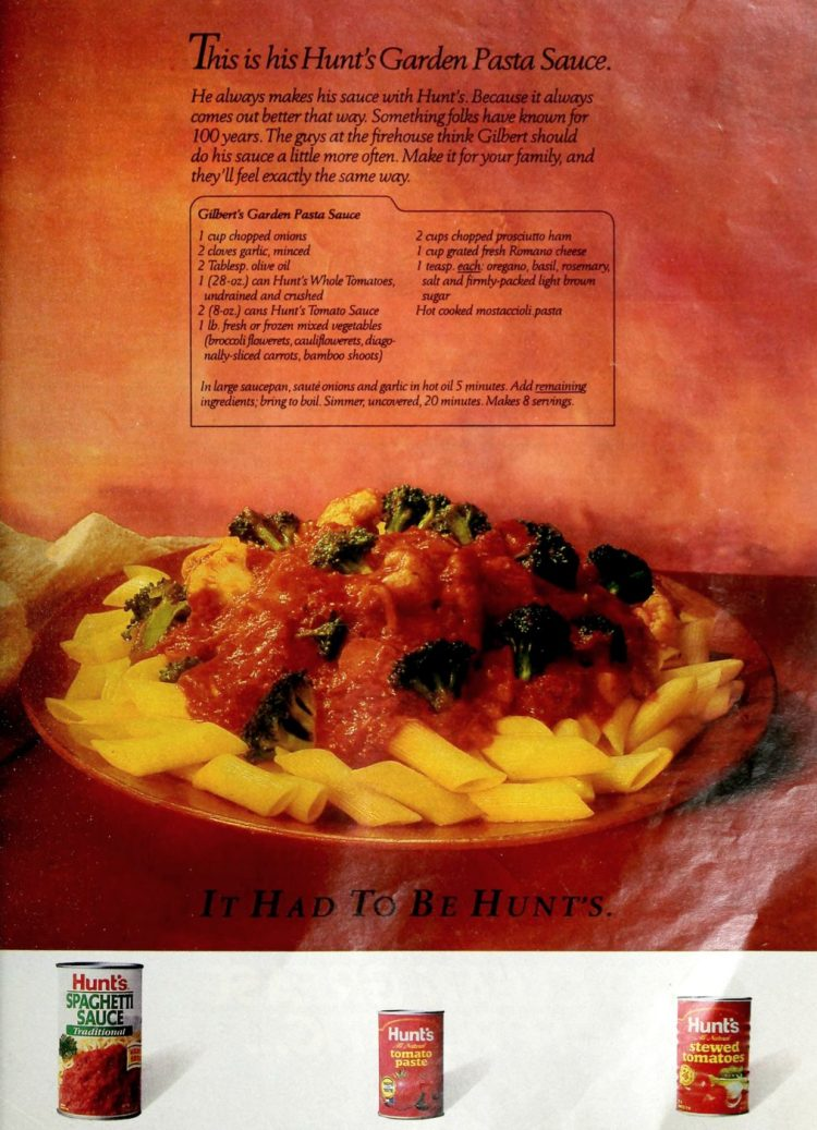 Retro recipe -Gilbert's garden pasta sauce (1989)