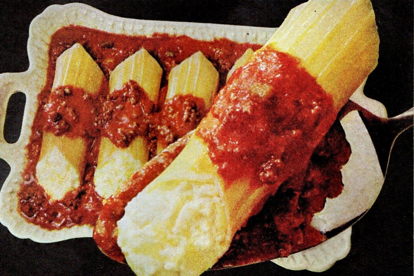 Retro recipe - Manicotti-Cheese Bake (1968)