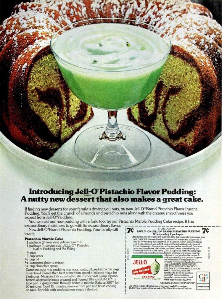 Retro recipe - Pistachio marble cake (1977)