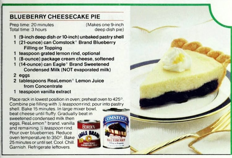 Retro recipe card - Blueberry cheesecake pie (1991)
