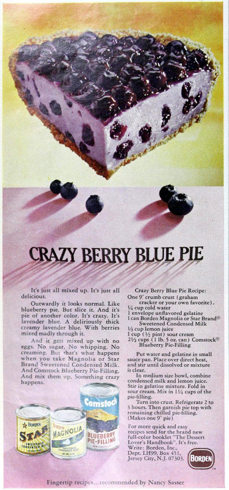 Retro recipe for Crazy berry blue pie (1969)