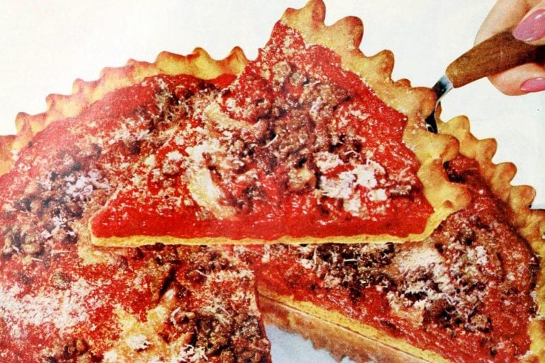 Retro recipe for French's Good and Plenty Pizza (1958)