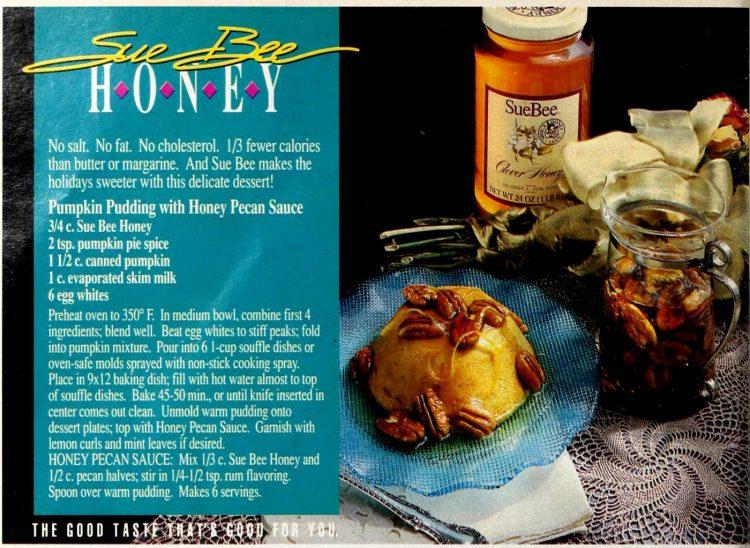 Retro recipe for Pumpkin pudding with honey pecan sauce (1989)