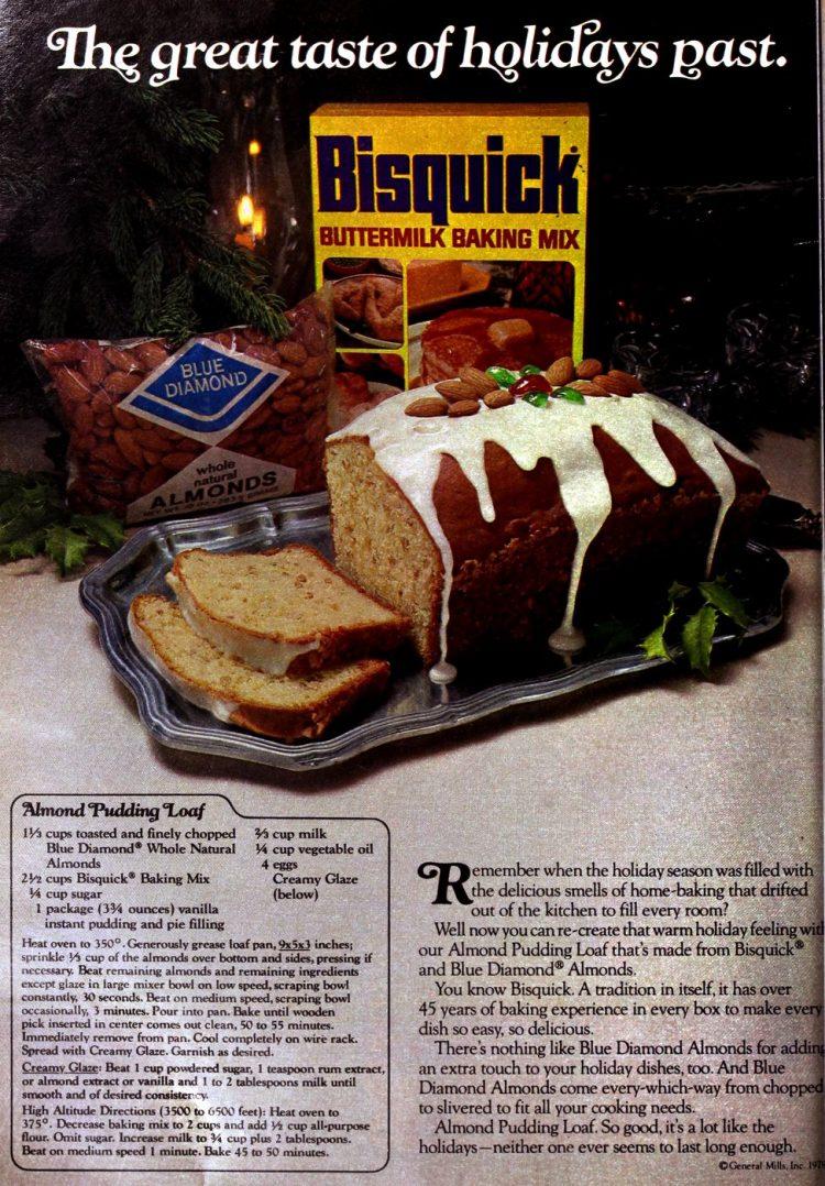 Retro recipe for almond pudding loaf
