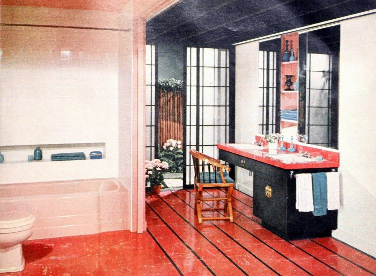 Retro red black and pink bathroom from 1955