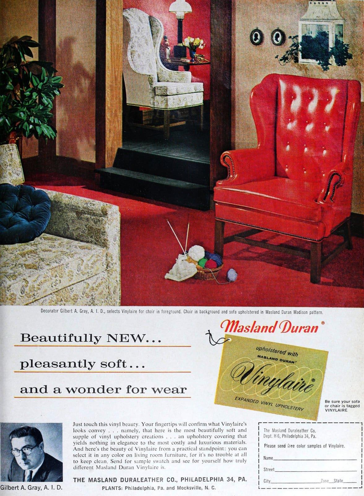 Retro red vinyl wingback chair (1962)