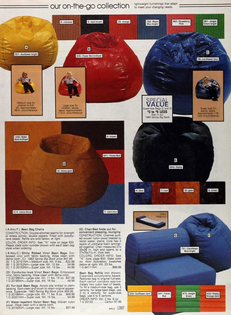 Retro ribbed bean bag chairs