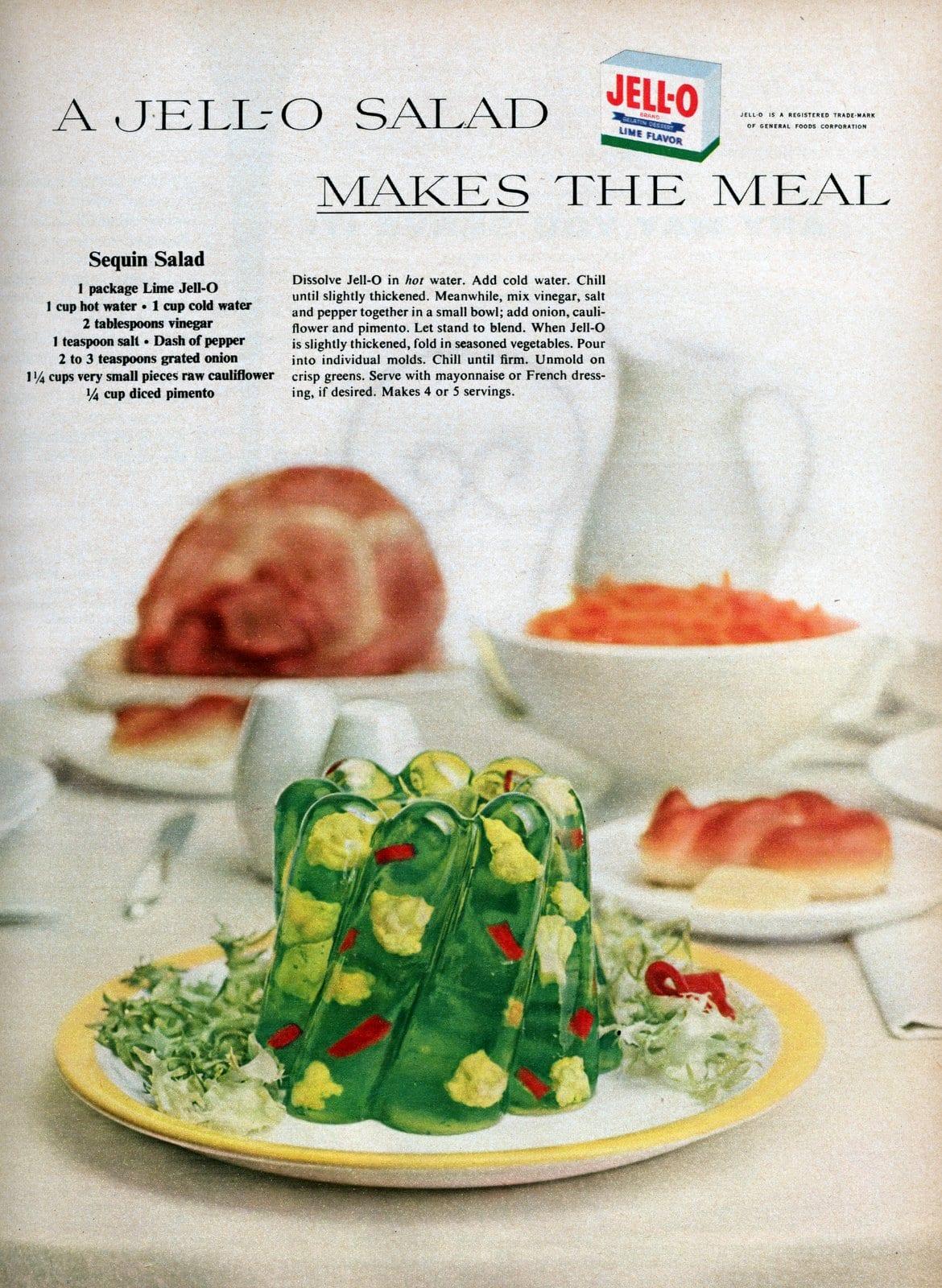Retro sequin salad Jell-O mold had cauliflower & onion in lime gelatin