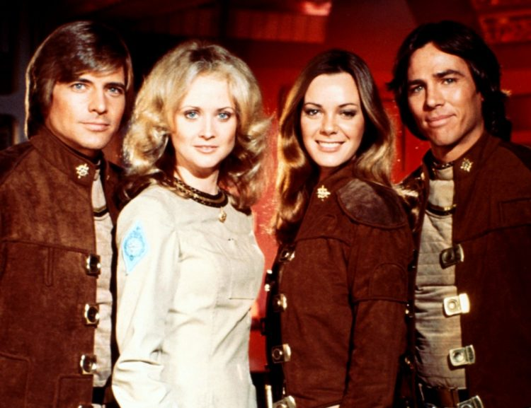Retro seventies Battlestar Galactica cast