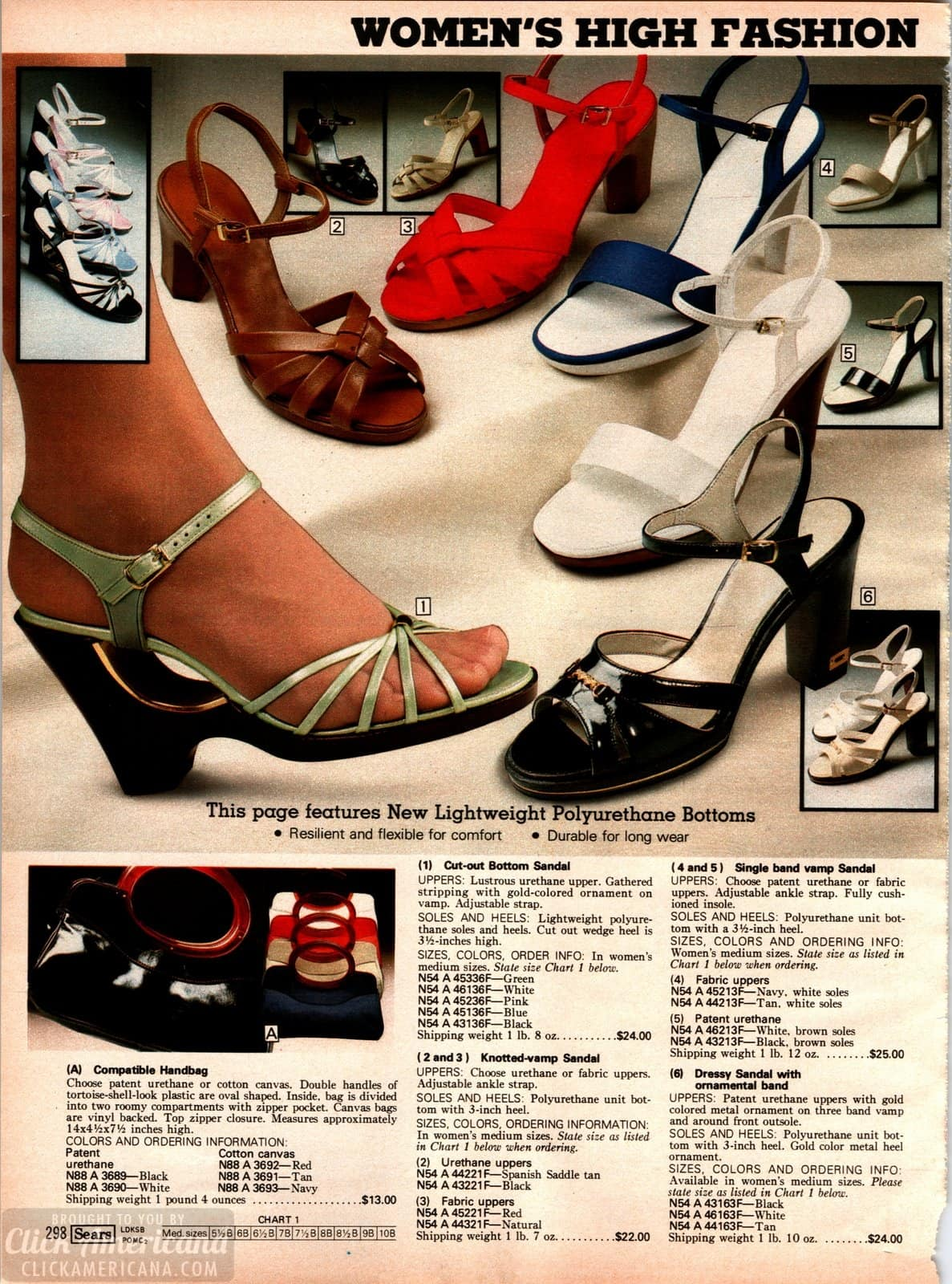 Retro shoe fashions with strappy heels and sandals plus patent and canvas handbags to match