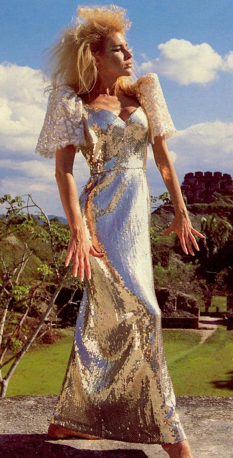 Retro silver lame formal dress from 1988