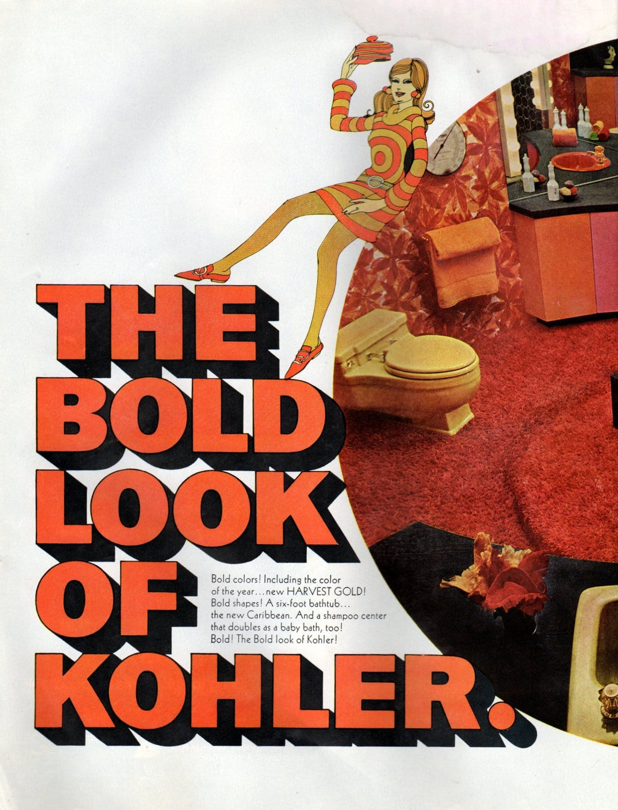 Retro sixties Harvest Gold Kohler bathroom suites from 1968 (1)