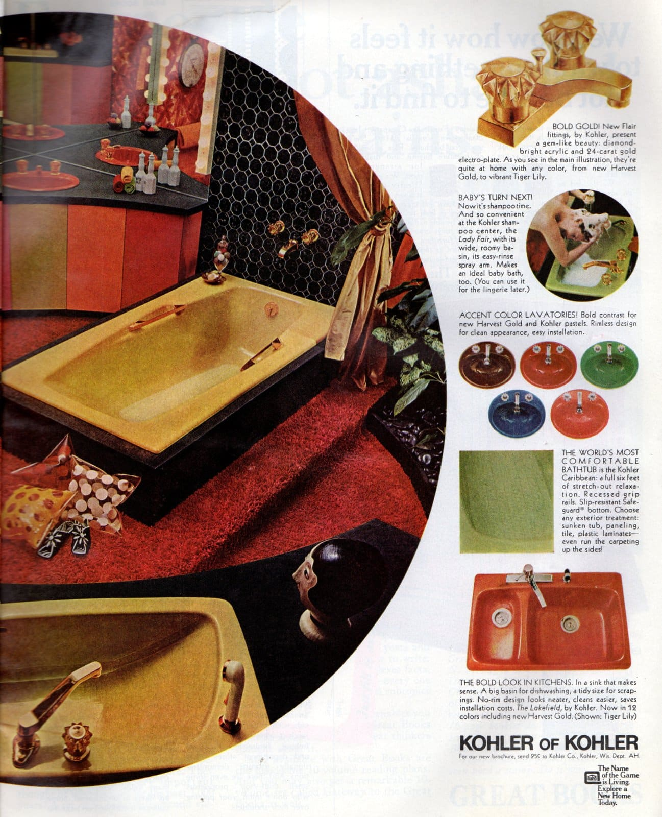 Retro sixties Harvest Gold Kohler bathroom suites from 1968 (2)