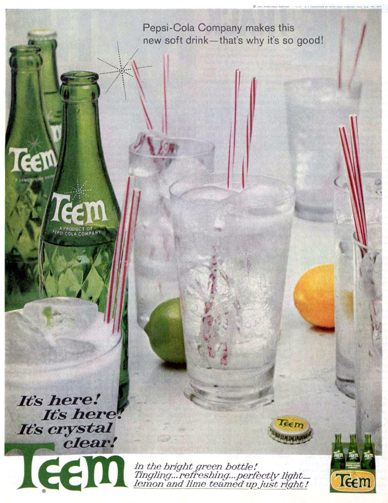 Retro sixties Teem soft drink - lemon lime soda (1962)