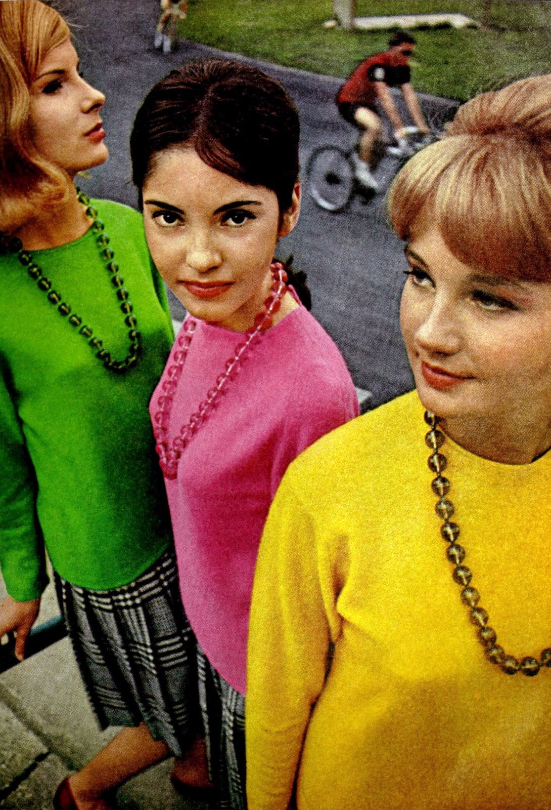 Retro sixties bright solid-color sweaters (1964)