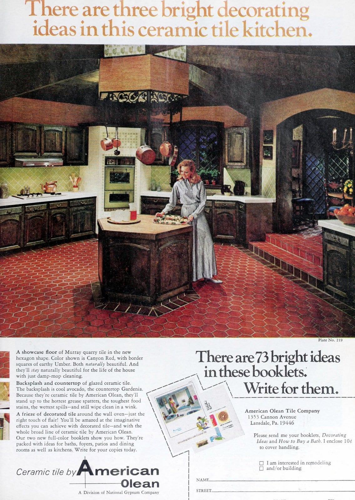 Retro sixties ceramic tile kitchen decor (1969)