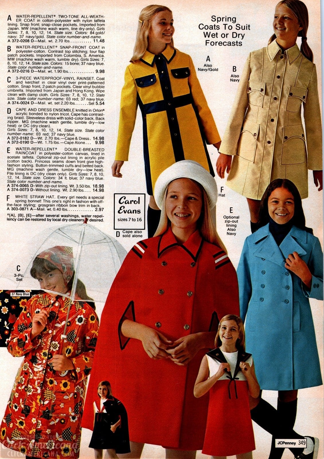 Retro spring raincoats for girls - plus capes and rainsets