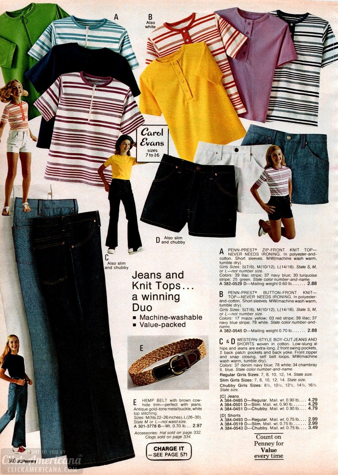 Retro striped and solid tops for girls and western style jeans from the 70s
