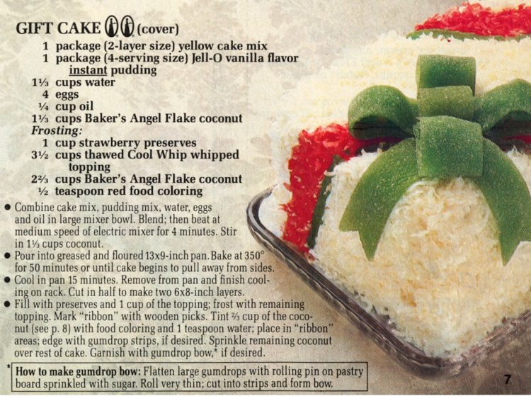 Retro-style Christmas coconut gift cake