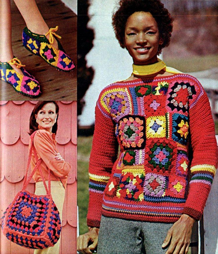 Retro-style Granny squares are easy to crochet 1974 (5)