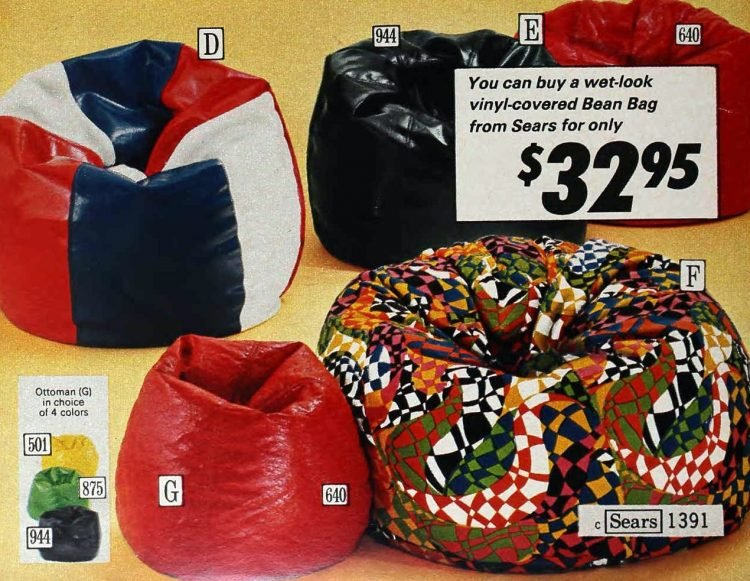Retro-style bean bags from 1972