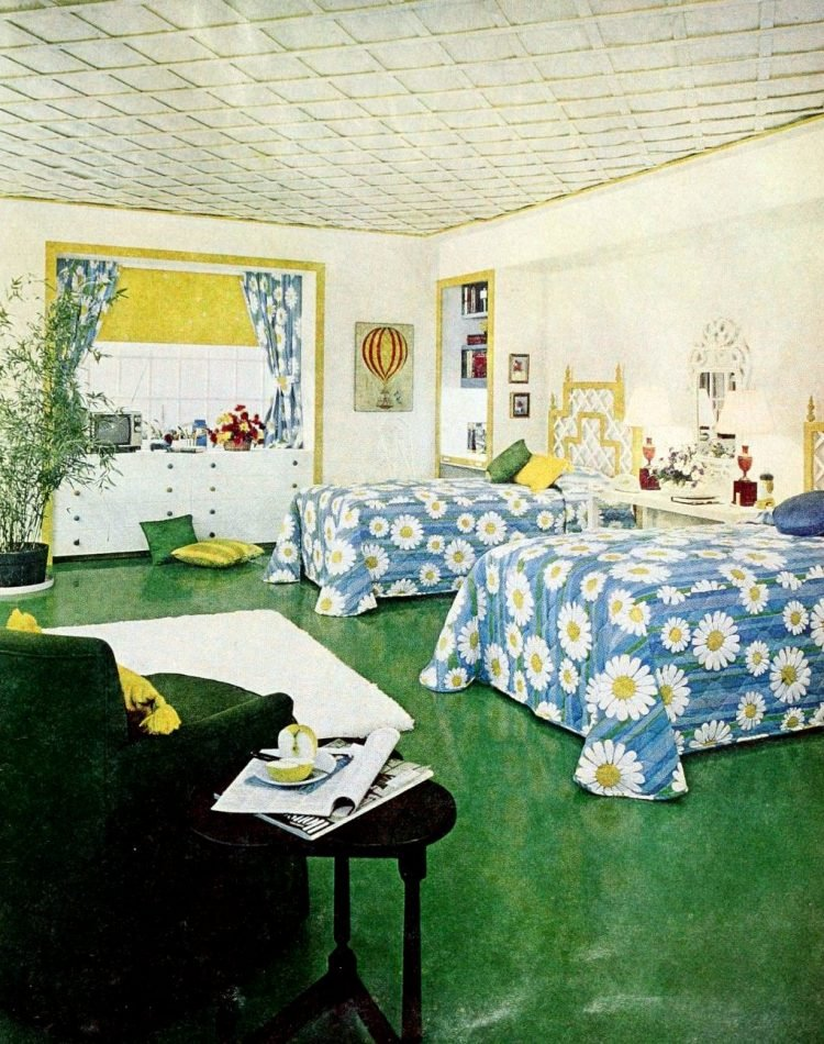 Retro-style floral girls' bedroom decorating from 1966