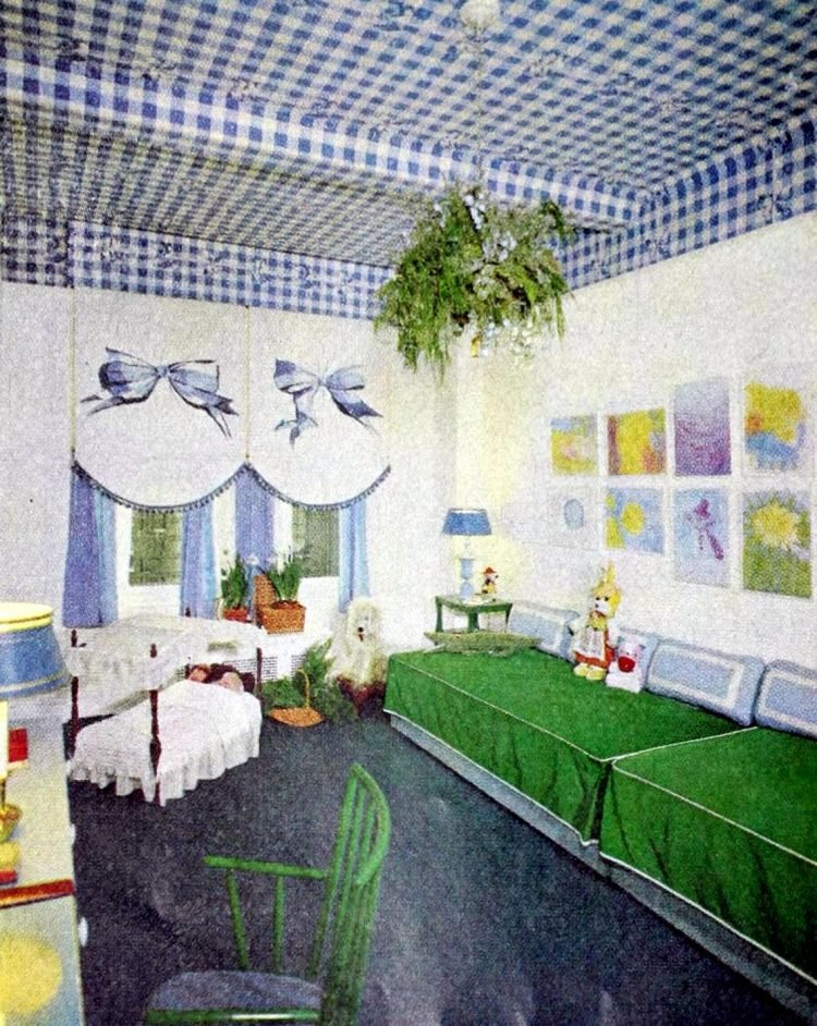 Retro-style girls' bedroom decor with gingham check wallpaper