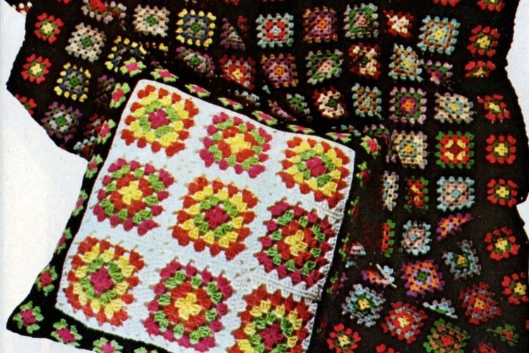 Retro-style granny squares are easy to crochet