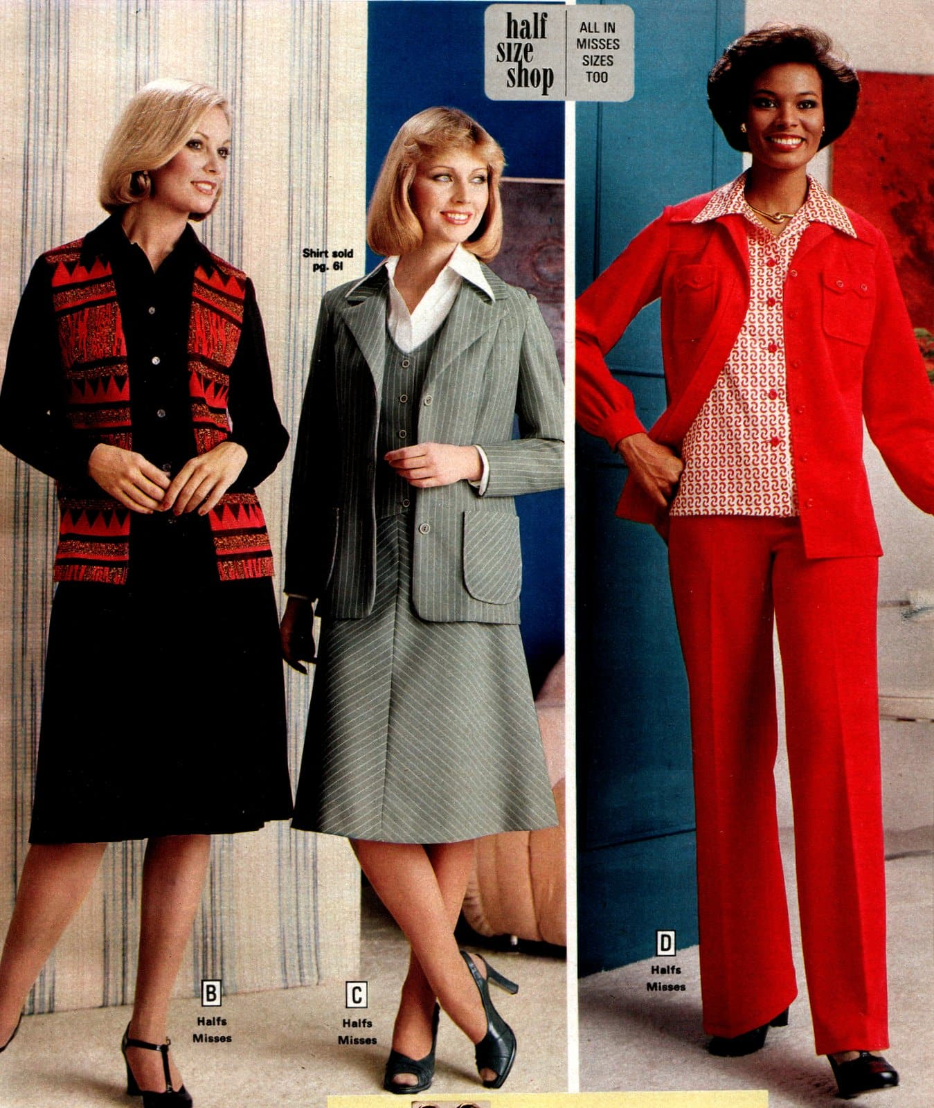 Retro suits for women from the 1970s