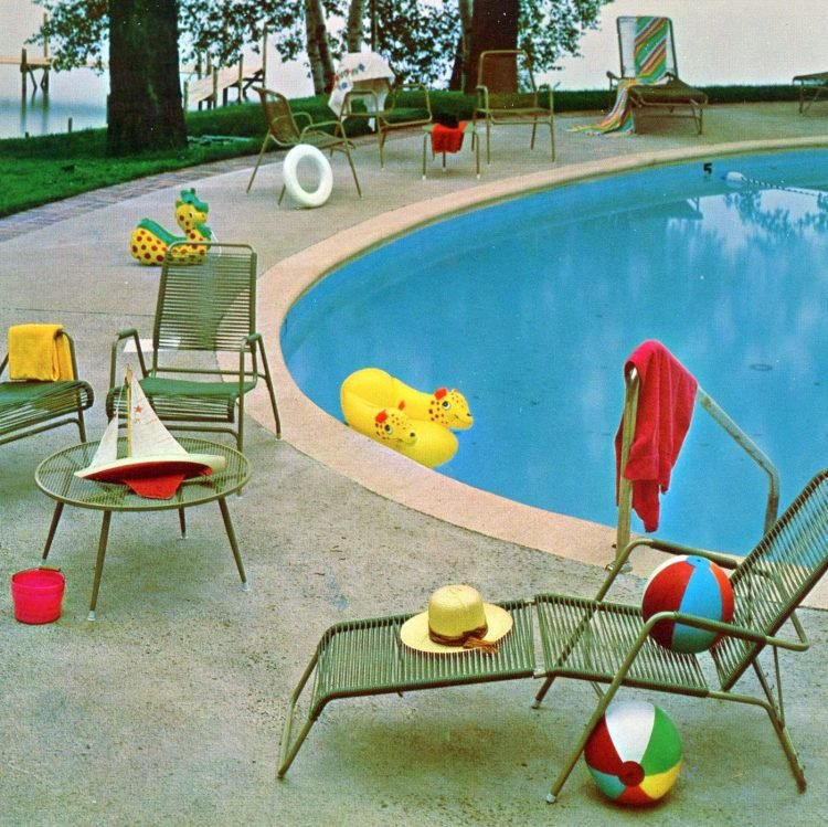 Retro swimming pool and water toys