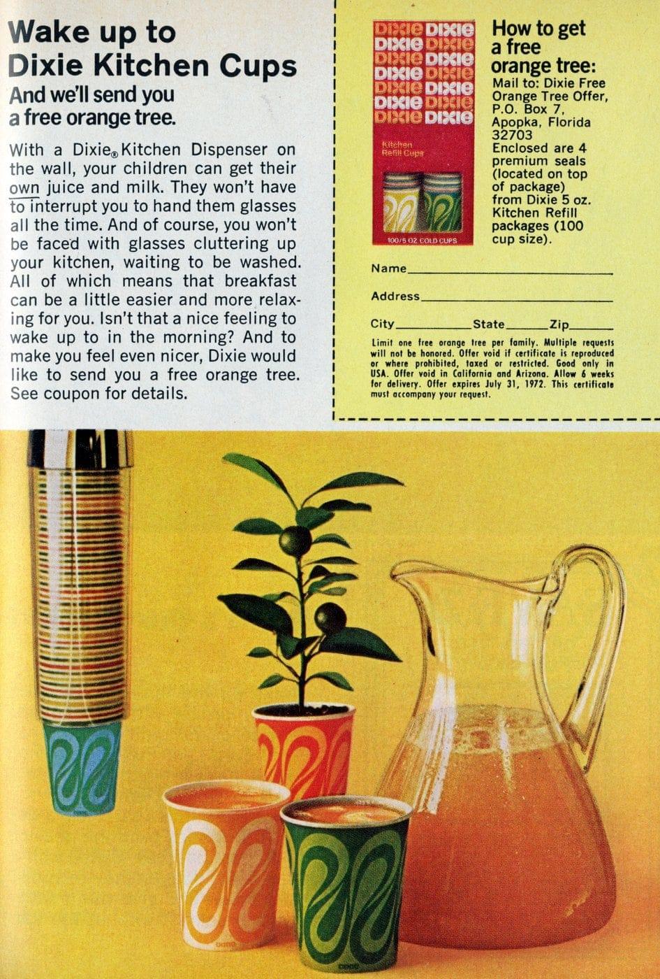 Retro swirl pattern Dixie cups (1972)