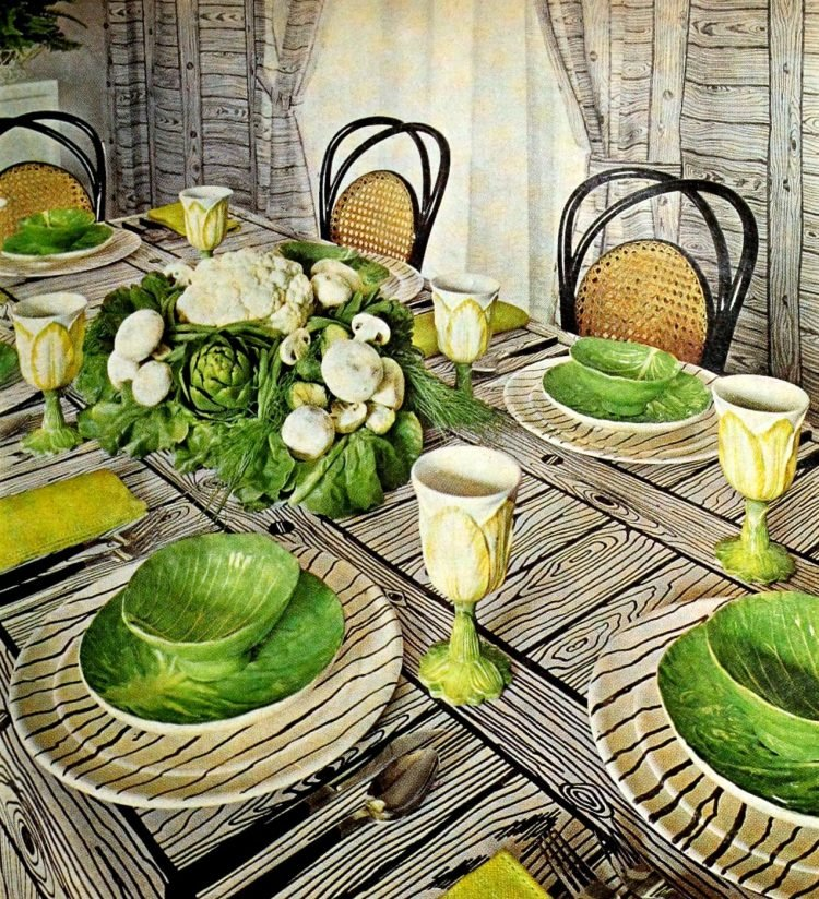 Retro table setting idea from the 60s - vegetable-themed 1968