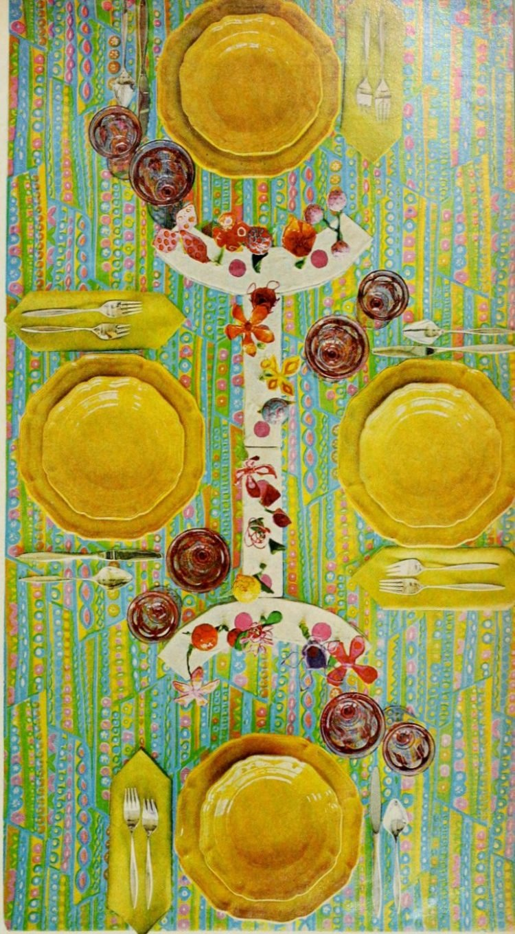 Retro table setting in yellow and pastels from the 60s - 1968