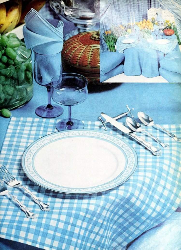 Retro table settings from 1977 in country blues