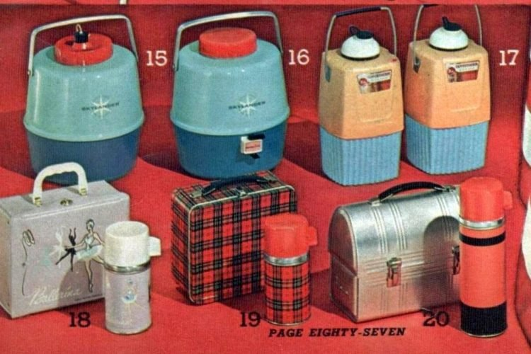 Retro thermoses and lunch boxes from 1963