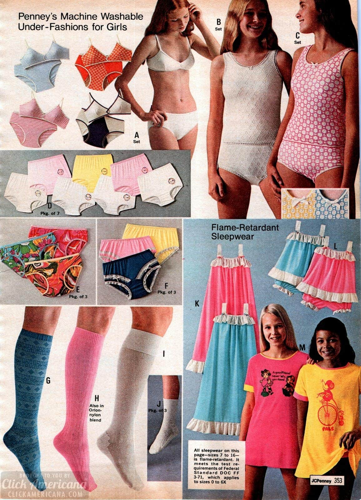 Retro underwear styles for girls from the seventies