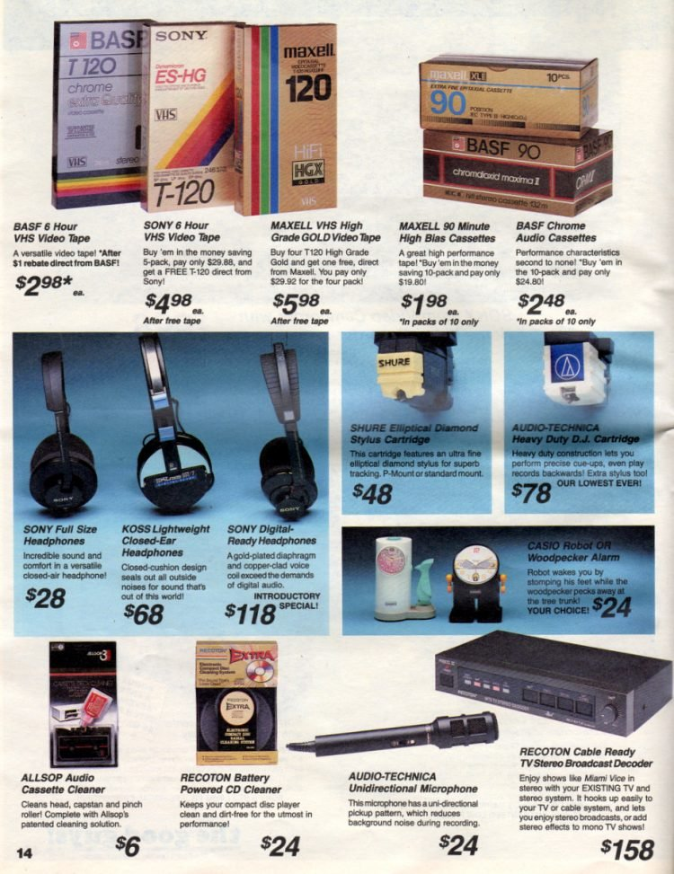 Retro video & audio accessories from the eighties
