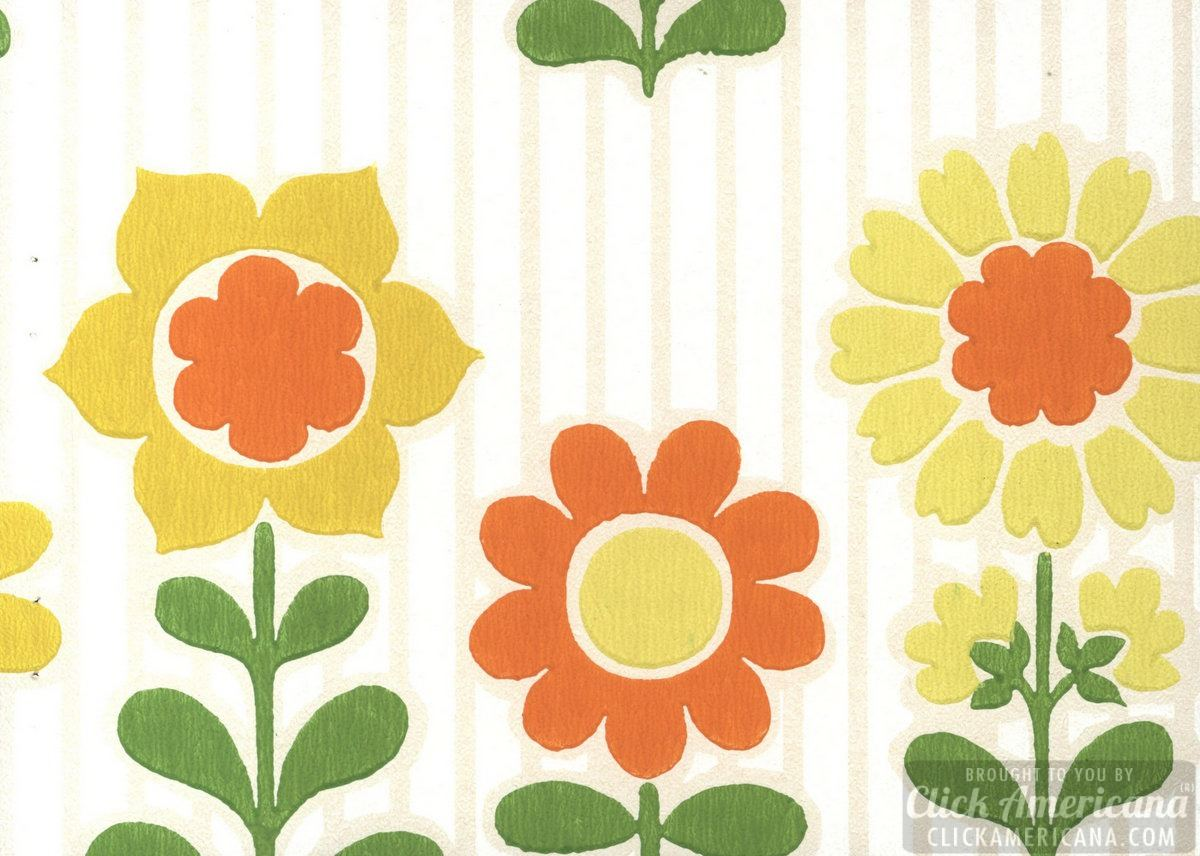 Retro floral wallpaper sample from 1963