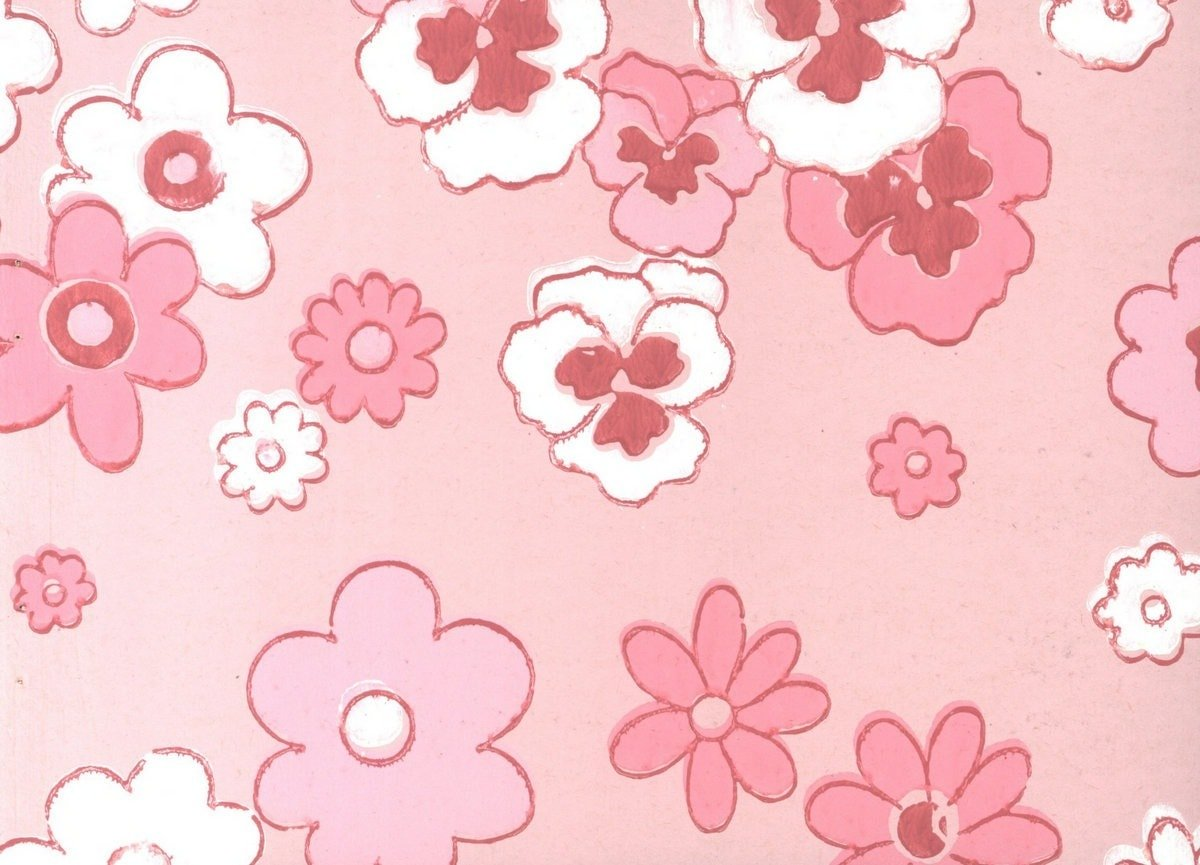 Pink Floral Wallpaper Sample From 1963