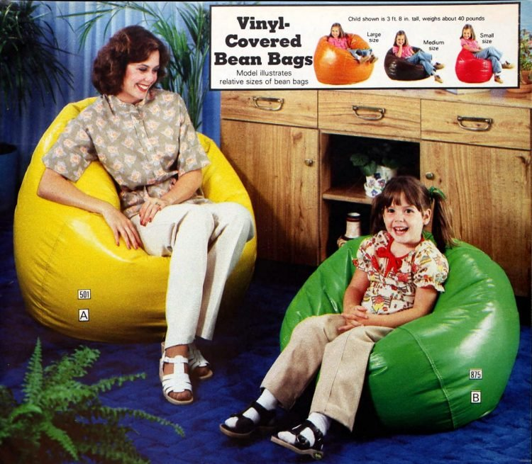 Retro vinyl-covered bean bags