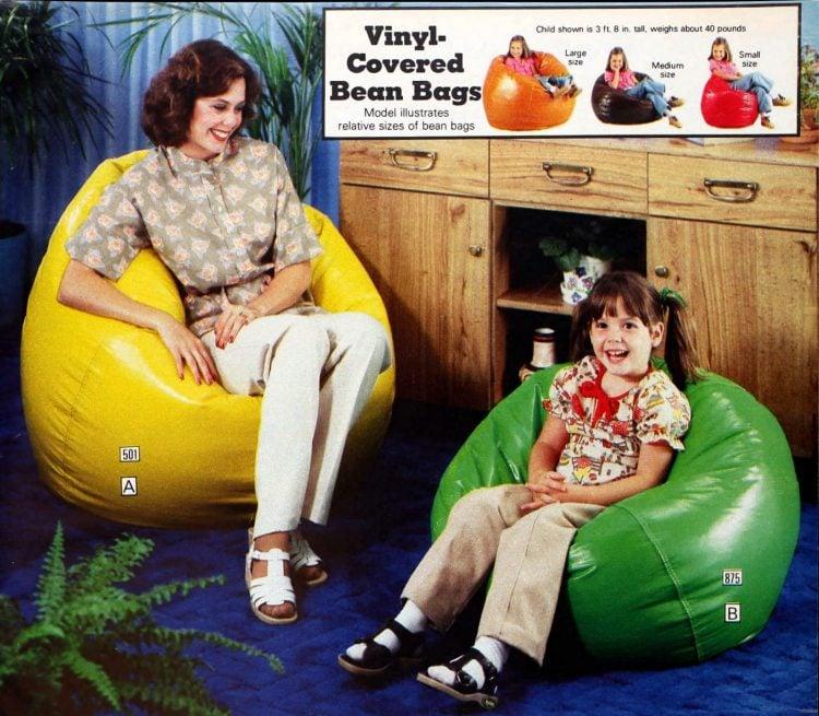 Retro vinyl-covered bean bags