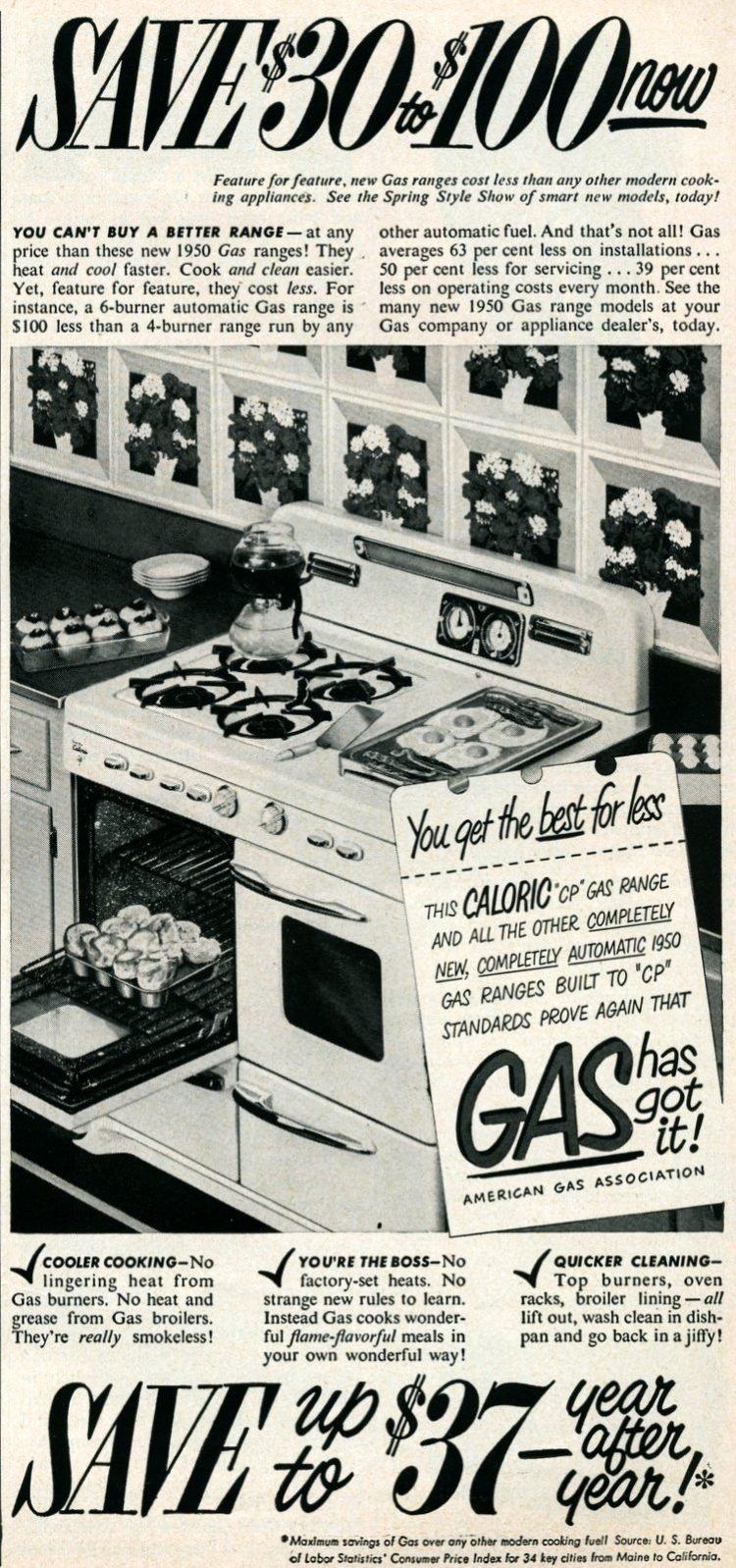 Retro white gas range from 1950s